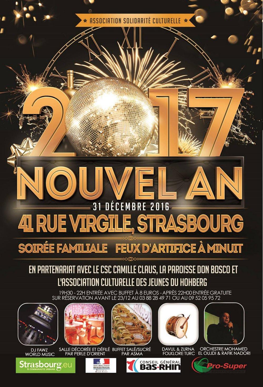 Affiche de la Soirée du Nouvel An à Koenigshoffen Strasbourg
