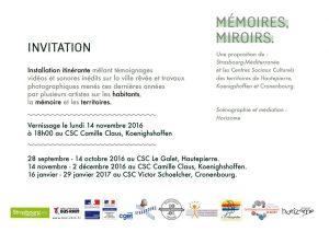 Invitation Mémoires, Miroirs.
