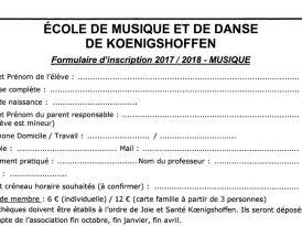 Dossier d'inscription à l'école de musique et de danse