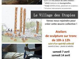 Sculpture du tronc du Village des Utopies