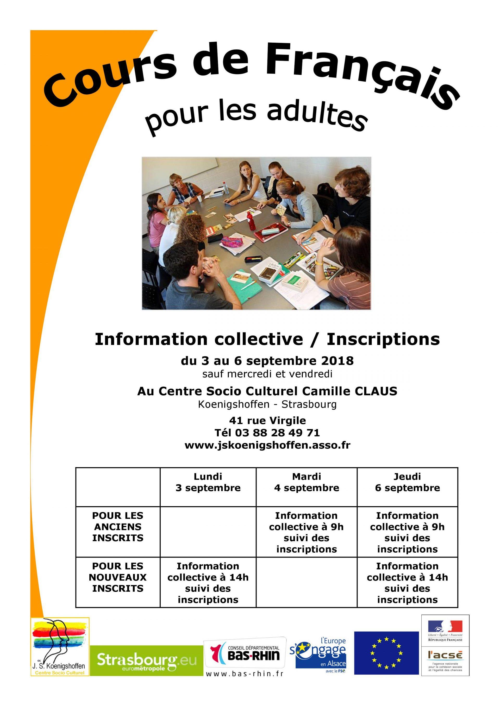 Inscription aux ateliers et cours de français pour adultes 2018
