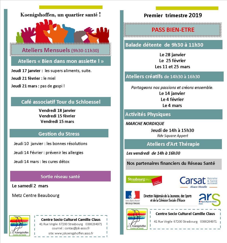 Le programme des atelier santé du CSC Camille Claus à Strasbourg de janvier à mars 2019