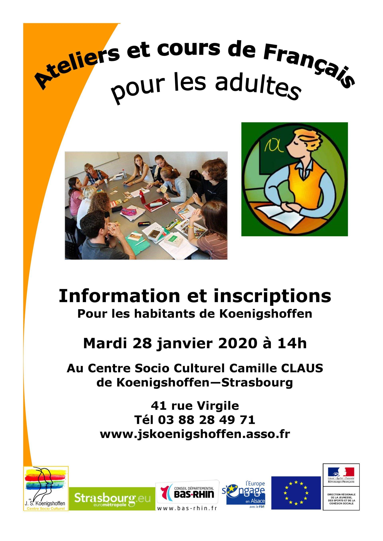 Information et inscriptions pour les cours de Français 2020