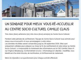 Un sondage pour mieux vous ré-accueillir au Centre Socio Culturel Camille Claus